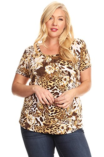 Casual Land Plus Size Woman's Animal Print Scoop Neck T-Shirt (Light Brown, 3XL)