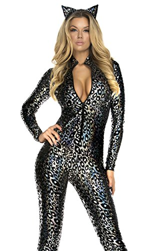 - 51W77sV6CEL - Forplay Women's Lustrous Lynx Catsuit and Headband