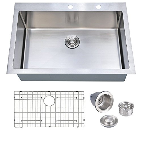 33 x 22 inch Handcrafted Topmount Single Bowl 16 gauge Stainless Steel Kitchen Sink with Grid and Drainer (Top Single Bowl 22')