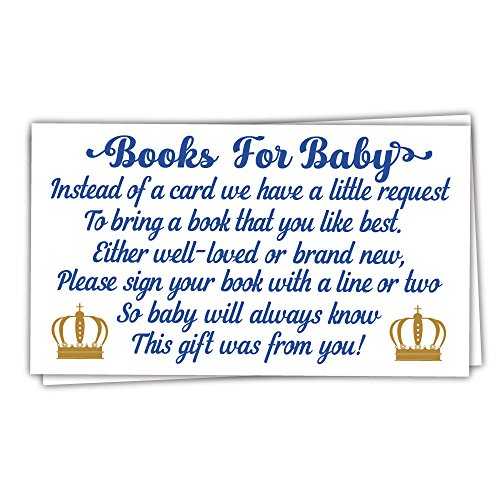 50 Prince Books for Baby Shower Request Cards - Invitation Inserts - Boy Baby -