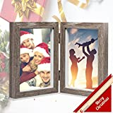 Baby : CECIINION Wood Picture Frame, Hinged Double Picture Frame, Double 4 by 6 inch (For 4x6in photo,Grey Color)