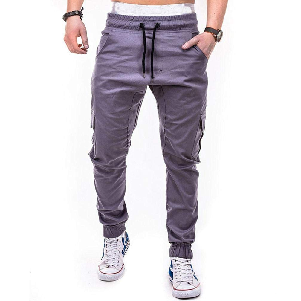 Dacawin Newest Clearance Men's Solid Casual Loose Sweatpants Sport Drawstring Pant Handsome Men_01