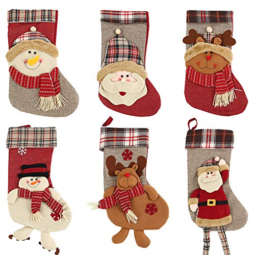 Scorpiuse 21'' Christmas Stockings Felt Christmas Decorations for Mantle Xmas Stocking Santa Snowman Reindeer Party (Set of 6(21''), Set of 6(21'')) by Scorpiuse