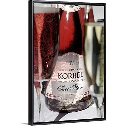 USA, California, Sonoma, Californian Champagne at Korbel Winery Black Floating Frame Canvas - California Wine Sonoma Usa Red