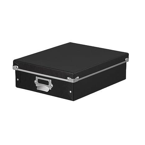 da4395c300fe Amazon   ナカバヤシ 収納ボックス ストックボックス フタ付き SSサイズ ブラック FBB-SS-BK   収納ボックス    文房具・オフィス用品