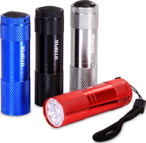 Utopia Home Pack of 4 Bright LED Mini Aluminum Flashlights - Compact and Sturdy - Simple to Operate by Utopia Home
