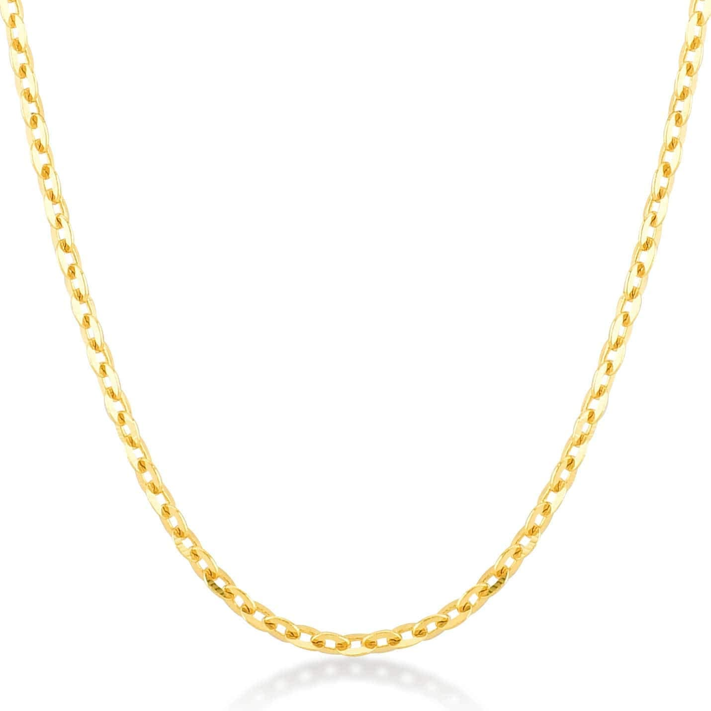 Gelin 14k White Gold 1.0 mm Forzentina Cable Chain for Women and Men,18