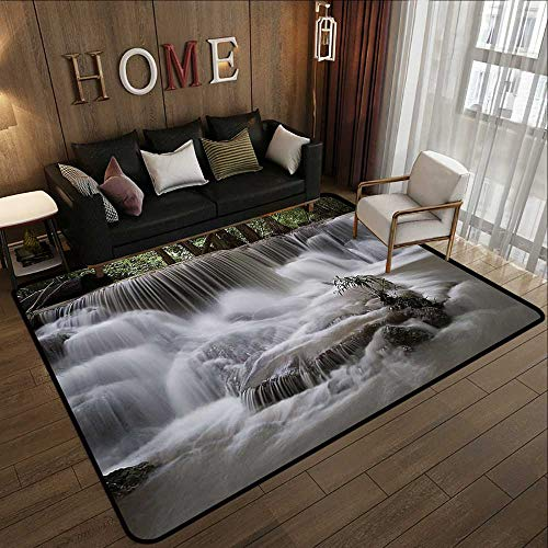 (Bath Rugs for Bathroom Non Slip,Waterfall Decor Collection,Mystic Waterfall in Forest Trees Splashing Water Babbling Brook Photography,White Green Olive 78.7
