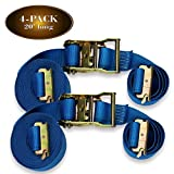 FOUR 2'' x 20' E Track Ratcheting Strap Heavy Duty Cargo TieDowns, Durable Blue Polyester Tie-Down Ratchet Straps, ETrack Spring Fittings, Tie Down Motorcycles, Trailer Loads