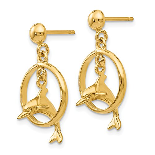 - 14k Yellow Gold Polished 3-D Dolphin Jumping Through Hoop Dangle Earrings (0.9IN Long x 0.5IN Wide)