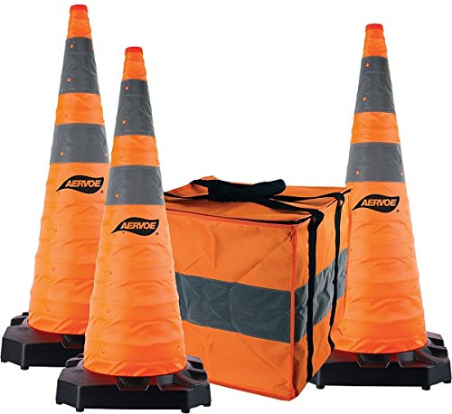 36'' Heavy Duty Collapsible Safety Cones 3 Pack Kit with Rubber Base (36''- 3 Cone Kit)