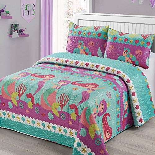 3pc Full/Queen Size Quilt Bedspread Kids/Teens Mermaid Dolphin Under The sea Branches Sea Life Purple Pink Teal Girls Multicolor Bedding New
