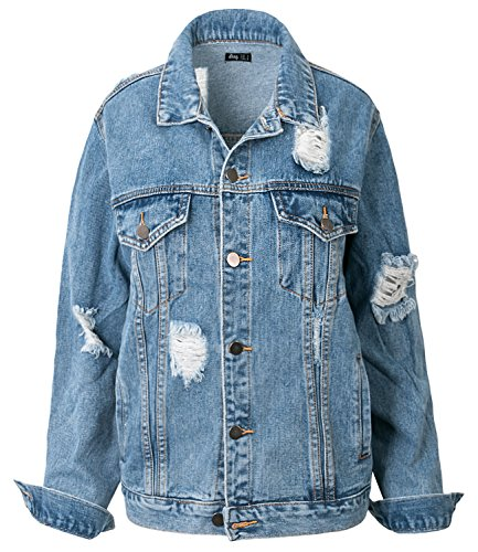 ililily Women Vintage Distressed Washed Denim Boyfriend Jean Trucker Jacket, Light Blue Denim, US-Medium (90s Denim Jacket)