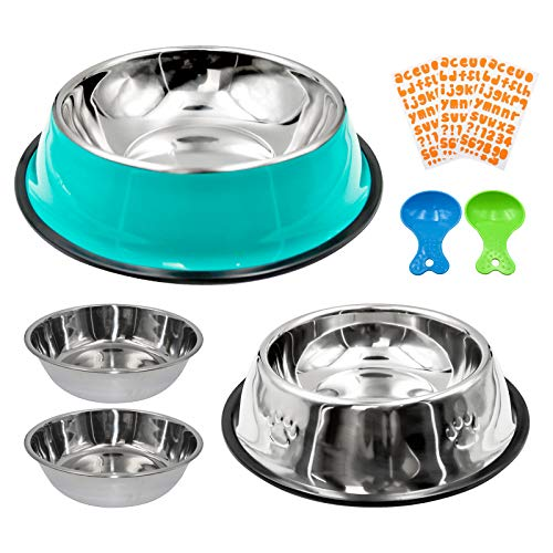 4 Pack Stainless Steel Dog Bowl,Non-Slip Rubber Ring Bowls & Stainless Steel Dog Bowls, Pets Feeder Bowl and Water Bowl Perfect Choice,for Puppy and Cats(Set 2)