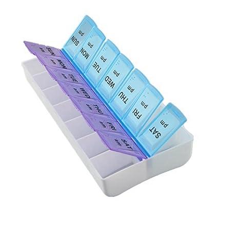 Same Christoopher Caja organizadora semanal de Almacenamiento de medicamentos para tabletas de 7 D/ías Azul