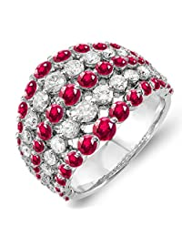14K White Gold Round Ruby & White Diamond Ladies Cocktail Right Hand Ring