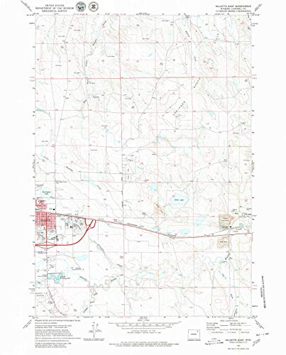 YellowMaps Gillette East WY topo map, 1:24000 Scale, 7.5 X 7.5 Minute, Historical, 1971, Updated 1980, 26.9 x 21.7 in - Polypropylene