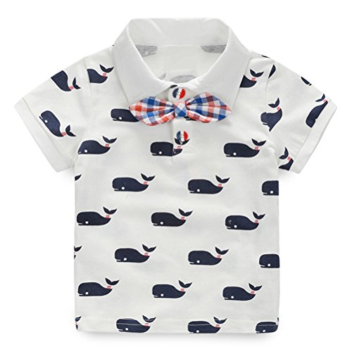 UWESPRING Boy's Shark Pattern Cartoon Polo Shirt Casual Button-down Shirts