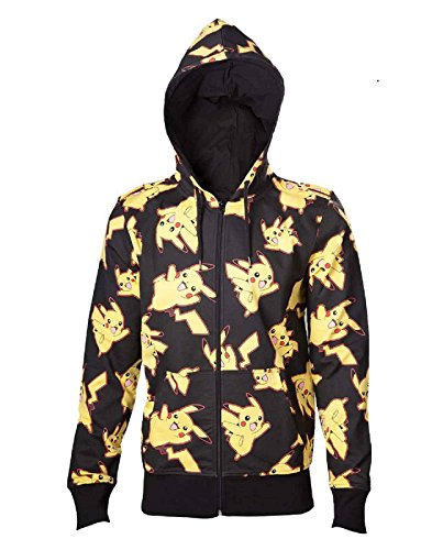 Pokemon Hoodie Pikachu All Over Print Logo Official Mens Black Zipped Size L -