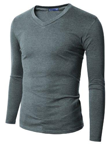 Doublju Mens V-Neck T-shirts with Long Sleeve KHAKI (US-S)