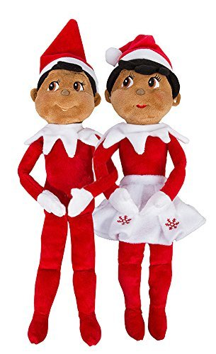 Elf on The Shelf: Christmas Plushee Pals Bundle Dark Skin Brown Eyed Boy and Girl (1) (1) ()