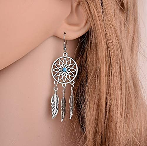 48e1e85dbf20 fablcrew Retro Plumas Atrapasueños pendientes oreja studs joyas accesorios  para niñas Lady