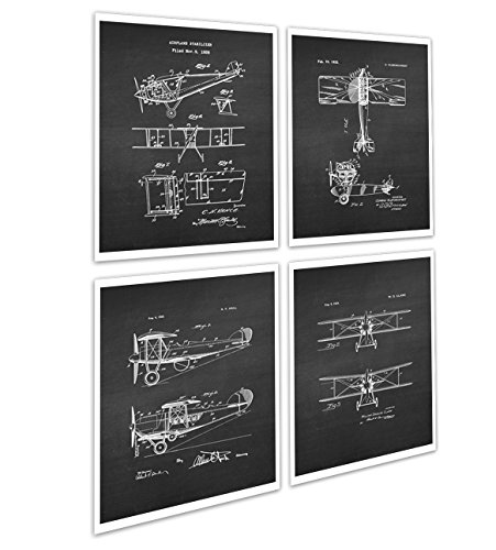 Biplane Decor Wall Art Set of 4 Unframed Prints Biplane Room Decor Pilot Gift Ideas Patents_Aviation_Chk4A ()