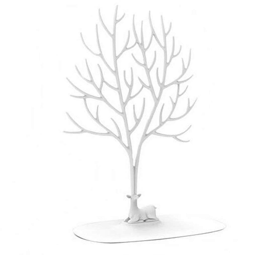 QISF Cervo Albero Supporto, Supporto per Gioielli Collana/Supporto/Braccialetto espositore Home Decor Decoration Gift Piece (Bianco) 1