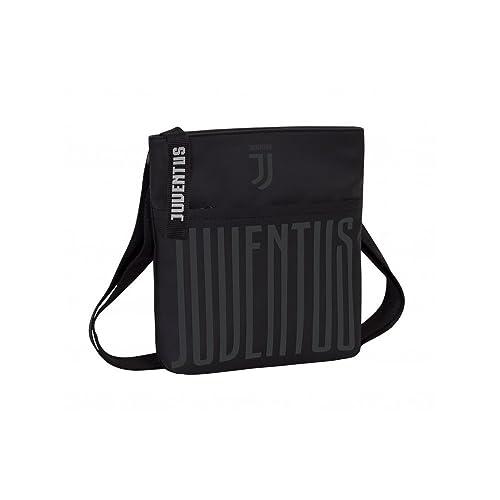dae9fb01d0 Borsa tracolla nera juventus tracollina 23x29x4,5cm serigrafia lucida borsa  con zip juventus gadget seven
