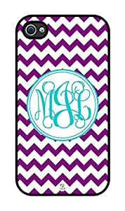 iZERCASE Monogram Personalized Purple and White Chevron Pattern rubber iphone 4 case - Fits iphone 4 & iphone 4s T-Mobile, Verizon, AT&T, Sprint and International (Black) by runtopwell