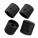 #10: Pack of 4pcs Brass Dome Knob Volume Tone Control Knobs for Electric Guitar Bass Screw Type (Black)