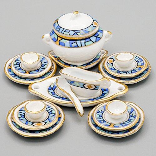 Odoria 1:12 Miniature 17PCS Porcelain Tableware Mediterranean Blue Chintz with Gold Trim Dollhouse Kitchen Accessories