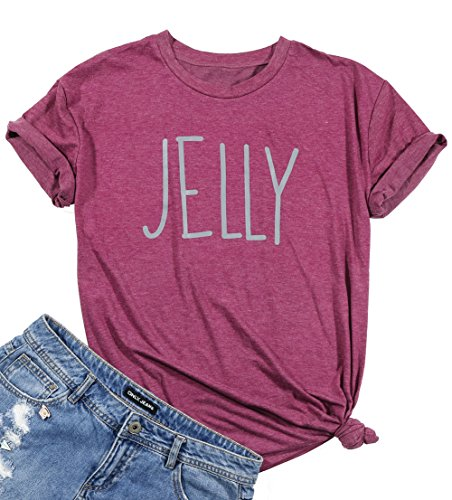 DUTUT Peanut Butter Jelly Shirts for Best Friends Women Short Sleeve Funny T Shirts Top Size US S/Tag M (Red)