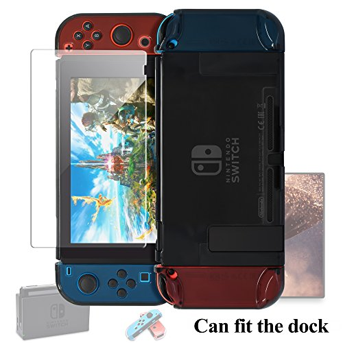 Dockable Case for Nintendo Switch [Updated],FYOUNG Protective Cover Case for Nintendo Switch and Nintendo Switch Joy-Con Controller with a Tempered Glass Screen Protector - Clear Black