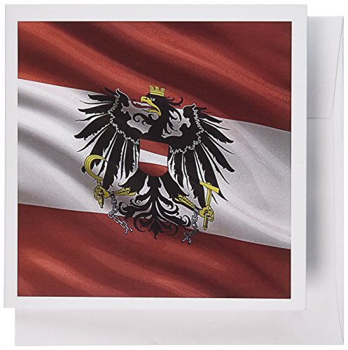 3dRose Greeting Cards, 6 x 6 Inches, Pack of 12, Flag of Austria Waving in the Wind (gc_180277_2) ()