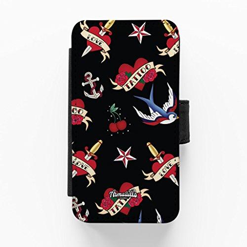 Tattoo Hochwertige PU-Lederimitat Hülle, Schutzhülle Hardcover Flip Case für iPhone 5 / 5s vom Gadget Glamour + wird mit KOSTENLOSER klarer Displayschutzfolie geliefert