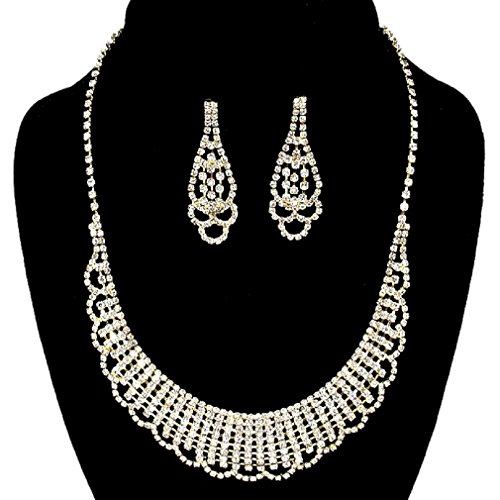 [Elegant Crystal Rhinestone Lace Filigree Affordable Necklace Earring Set Bridesmaid Prom Bride (Clear,] (Elegant Bride Costumes)
