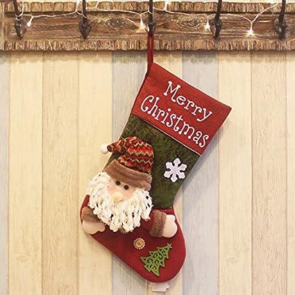 Deluxe calcetín de Navidad hecho a mano muñeco de nieve y bolsa de calcetín de Papá