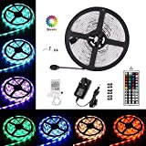 LEHOU Waterproof LED Strip Lights, 16.4ft/5m RGB 5050 LED Rope Lights Color Changing Full Kit with 44keys IR Remote Controller & 3A Power Supply for Indoor/Outdoor Garden Kitchen Cabinet Home Lighting