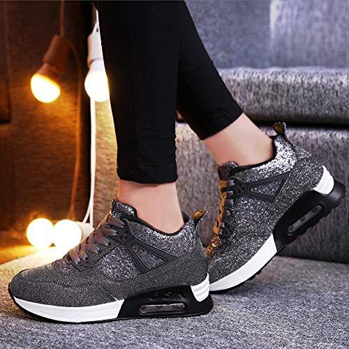 Casual Athlétique Sports Gris Fitness Sneakers Outdoor Mode Femme Osyard Gym Foncé Basket Multisports Course De Chaussures wvOXCXq
