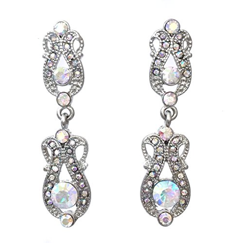Vintage Look Rhinestone Fancy Formal Prom Drop Dangle Post Earrings (AB Iridescent Silver Tone) ()