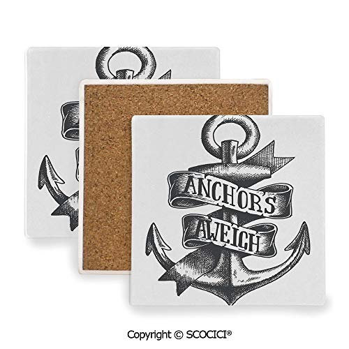 (Coaster For Drinks With Vibrant Colors And Cork Backing, Ceramics with cork bottom, Square area coaster,Anchor,Tattoo Style Old Navy Symbol Sketch with Ribbon and,3.9