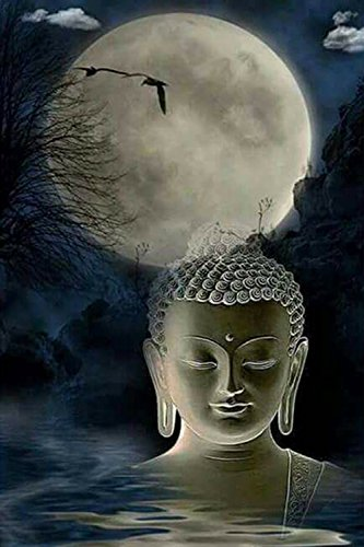 21secret 5D Diamond Diy Painting Full Drill Handmade Buddhism Buddha in Water Night under the Moon Cross Stitch Home Decor Embroidery Kit