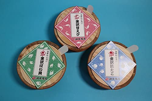 油与商店 金沢海鮮ぬか漬け三大珍味セット(甘えび・ばい貝と茎わかめ・活たこ)ご自宅用 -クール冷凍-