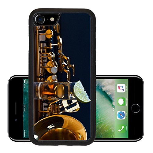 Luxlady Premium Apple iPhone 7 Aluminum Backplate Bumper Snap Case iPhone7 IMAGE 39896452 saxophone and tequila with lime on wooden (Lime Tequila Drinks)