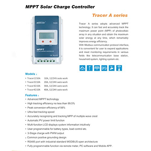 EPEVER MPPT Solar Charge Controller 20A 12V/24V Auto Work Tracer2210A Solar Panel Regulator with LCD Display Max PV 100V Input Power 260W/520W (20A, Tracer2210A) by EPsolar (Image #3)