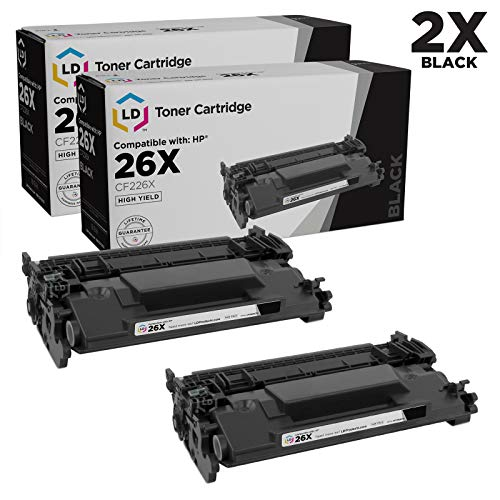 LD Compatible Toner Cartridge Replacements for HP 26X CF226X High Yield (Black, 2-Pack) ()