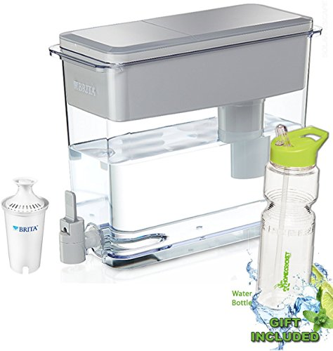 Gift Included- BPA Free Gray Brita 18 Cup UltraMax Water Dispenser with 1 Filter + FREE Bonus Water Bottle byHomecricket by HomeCricket