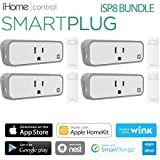 iHome iSP8 Smart Plug Bundle , Wi-Fi, Includes Remote Control, Works Seamlessly with all Alexa Products, includes hand held remote (4 Pack)