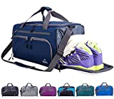 Venture Pal Packable Sports Gym Bag with Wet Pocket & Shoes Compartment Travel Duffel Bag for Men and Women-Navy